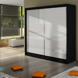 Šatní skříň FALCO I, černý mat/bílé sklo