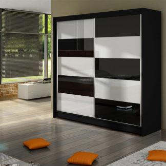 Šatní skříň FALCO II, černý mat/bílé sklo+černé sklo