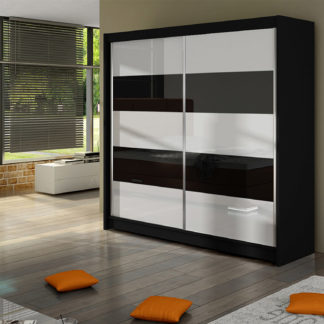 Šatní skříň FALCO III, černý mat/bílé sklo+černé sklo
