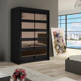Šatní skříň MIAMII IV, černý mat/zrcadlo