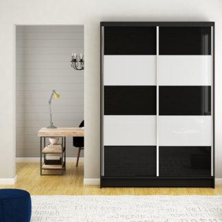 Šatní skříň MONTANA IV, černý mat/bílé sklo+černé sklo