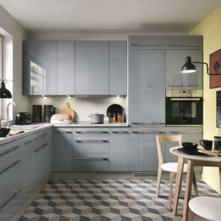 Rohová kuchyně TOP LINE 250x300/300 cm, šedý lesk