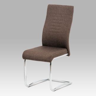 Jídelní židle DCL-427 BR2, hnědá látka / chrom