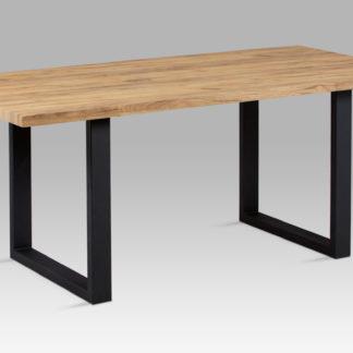 Jídelní stůl 180x90 cm HT-660 OAK, dekor dub / černý kov