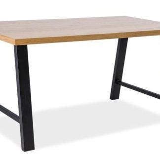 Jídelní stůl ABRAMO 90x180, dub dýha/černý kov