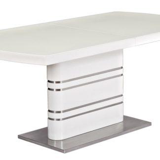 Jídelní stůl GUCCI rozkládací 140x85, sklo/bílá