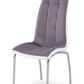 Jídelní čalouněná židle H-104, šedá/bílá