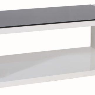 Konferenční stolek MERY 100x60, černé sklo/bílý lak