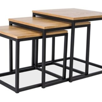 Konferenční stolky TRIO - 3 kusy, dub/černá