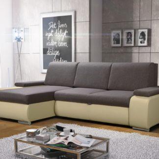 Rohová sedačka MILAN 3 univerzální roh, hnědá látka/krémová ekokůže