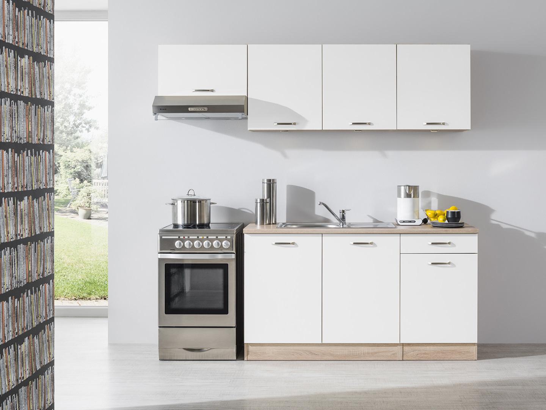 Kuchyně BORA 150/210 cm, korpus dub bardolino/dvířka bílý lesk