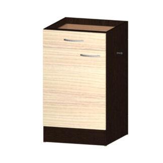 NELA dolní skříňka S 50 KDZ s odpadkovým košem, korpus dub tmavý/dvířka jasan coimbra