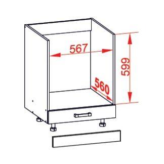 SOLE dolní skříňka DP60, korpus wenge, dvířka bílý lesk