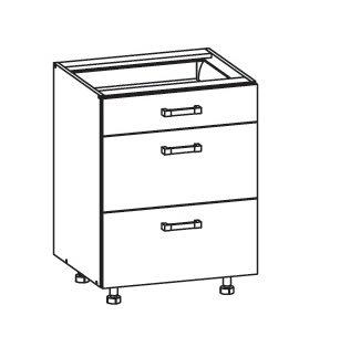 SOLE dolní skříňka D3S 60 SMARTBOX, korpus wenge, dvířka bílý lesk