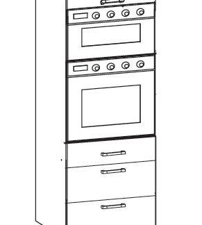 SOLE vysoká skříň DPS60/207 SMARTBOX O, korpus šedá grenola, dvířka dub arlington