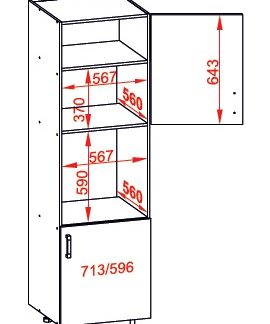 SOLE vysoká skříň DPS60/207 pravá, korpus wenge, dvířka bílý lesk