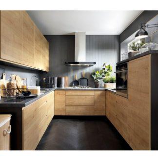 Rohová kuchyně SOLE 260x280x260/260 cm, korpus wenge, dvířka dub arlington
