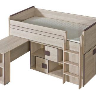 GIMMI, patrová postel komplet G19, dub santana/hnědá