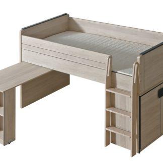 GIMMI, patrová postel se stolkem G15,  dub santana/šedá
