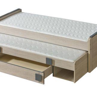 GIMMI, postel s úložným prostorem G16 bez matrací, dub santana/červená