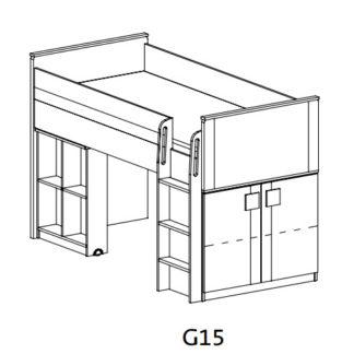 GIMMI, patrová postel se stolkem G15,  dub santana/červená