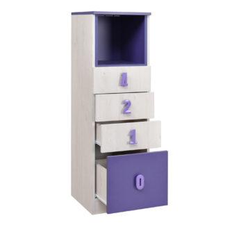 NUMERO komoda 4F NIKA, dub bílý / fialová