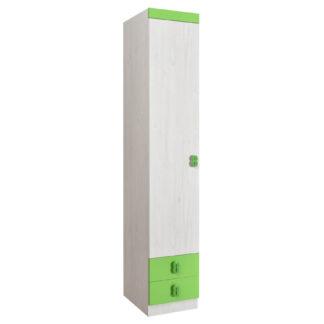 NUMERO SKŘÍŇ O1V2F, dub bílý / zelená