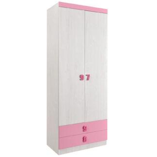 NUMERO SKŘÍŇ O2V2F, dub bílý / růžová
