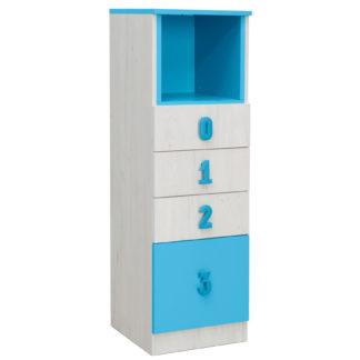 NUMERO komoda 4F NIKA, dub bílý / modrá
