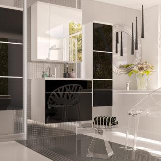 PORTO, koupelnová sestava, bílá/černý lesk