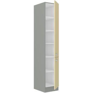 KARMEN, skříňka vysoká 40 DK-210 2F, šedá / krémový lesk