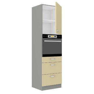 KARMEN, skříňka vysoká 60 DPS-210 3S 1F, šedá / krémový lesk