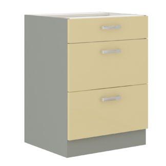 KARMEN, skříňka dolní 60 D 3S BB, šedá / krémový lesk