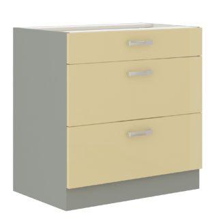 KARMEN, skříňka dolní 80 D 3S BB, šedá / krémový lesk