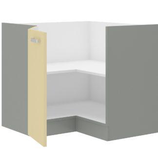 KARMEN, skříňka dolní rohová 83/83 cm 90/90 DN BB, šedá / krémový lesk