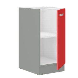 ROSE, skříňka dolní 40 D 1F BB,  šedá / červený lesk