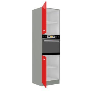 ROSE, skříňka vysoká 60 DP-210 2F,šedá / červený lesk