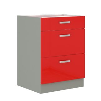 ROSE, skříňka dolní 60 D 3S BB, šedá / červený lesk