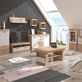 MAXIMUS obývací pokoj 6, dub sonoma/bílý lesk