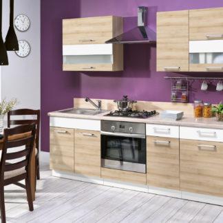Kuchyně MODENA 240/180 cm, buk/bílý lesk