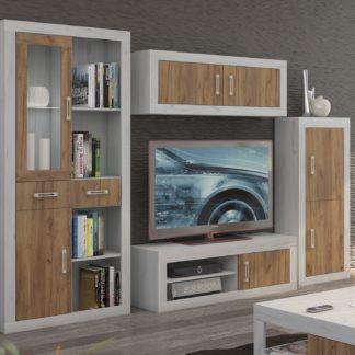 Obývací stěna VERIN 8, craft bílý/craft zlatý