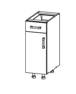 PLATE PLUS dolní skříňka D1S 30 SAMBOX, korpus šedá grenola, dvířka bílá perlová