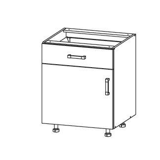 PLATE PLUS dolní skříňka D1S 60 SMARTBOX, korpus šedá grenola, dvířka bílá perlová