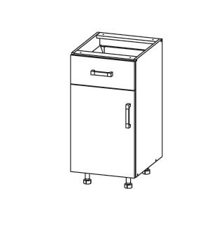 PLATE PLUS dolní skříňka D1S 40 SMARTBOX, korpus wenge, dvířka světle šedá