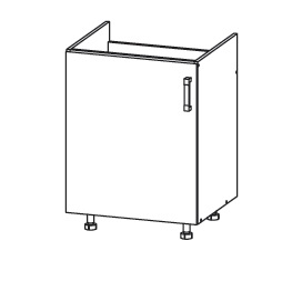 PLATE PLUS dolní skříňka DK60 pod dřez, korpus šedá grenola, dvířka bílá perlová