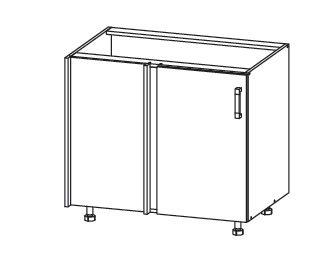 PLATE PLUS dolní rohová skříňka DNW 105/82, korpus congo, dvířka světle šedá
