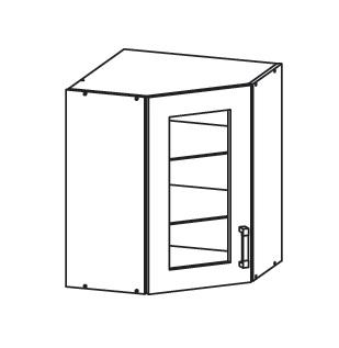 PLATE PLUS horní skříňka GNWU vitrína - rohová, korpus wenge, dvířka bílá perlová