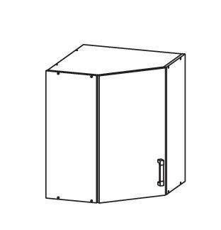 PLATE PLUS horní skříňka GNWU 60/72 - rohová, korpus wenge, dvířka bílá perlová