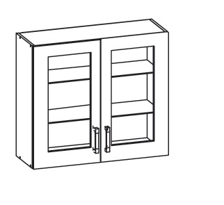 PLATE PLUS horní skříňka G80/72 vitrína, korpus šedá grenola, dvířka bílá perlová
