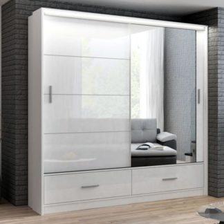 Šatní skříň MARSYLIA 203, bílá s osvětlením